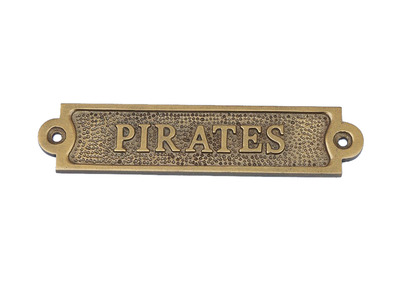 Antique Brass Pirates Sign  6
