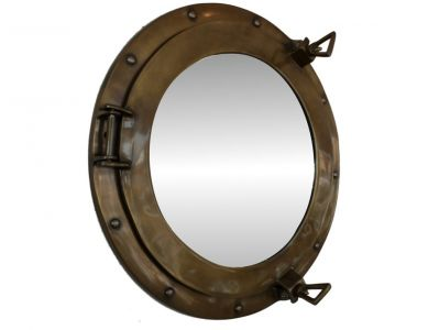 Antiqued Brass Porthole Mirror 15