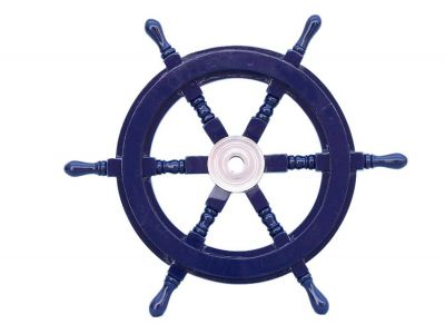Deluxe Class Dark Blue Wood and Chrome Ship Steering Wheel 18