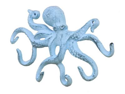 Rustic Dark Blue Whitewashed Cast Iron Octopus Hook 11\