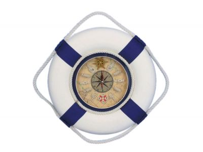 Classic White Decorative Lifering Clock with Blue Bands 12\