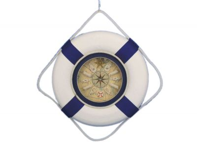 Classic White Decorative Lifering Clock with Blue Bands 18\