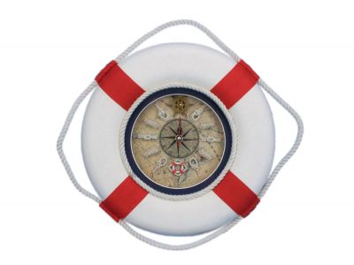 Classic White Decorative Lifering Clock with Red Bands 12