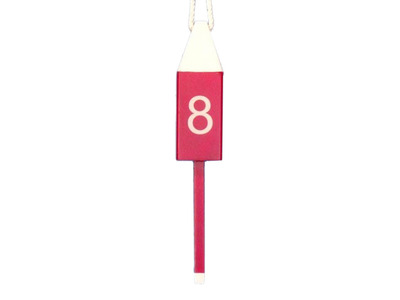 Wooden Red Number 8 Squared Buoy 15