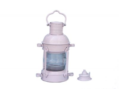 "Iron Anchor Oil Lamp 15"" - White"