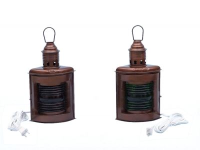 Antique Copper Port and Starboard Electric Lamp 12