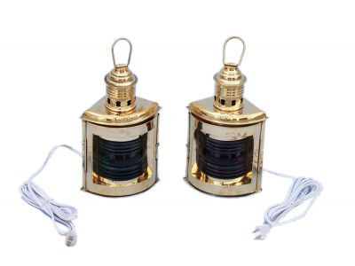 Solid Brass Port and Starboard Electric Lantern 12