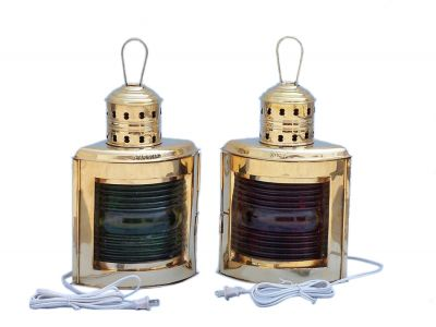Solid Brass Port and Starboard Electric Lantern 17