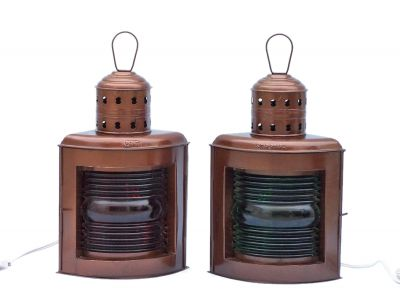 Antique Copper Port and Starboard Electric Lamp 17