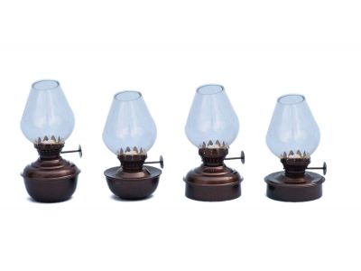 Antique Copper Table Oil Lamp 5 - Set of 4