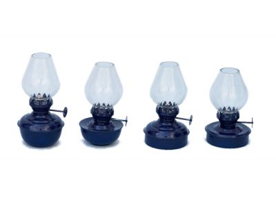 Iron Table Oil Lamp 5 - Set of 4 - Dark Blue