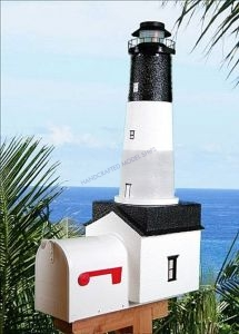 Oak Island Solar Powered Stucco Lighthouse Mailbox 36