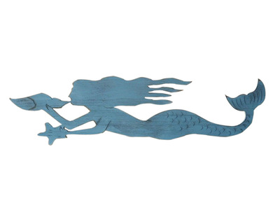 Rustic Ocean Blue Wooden Mermaid 44
