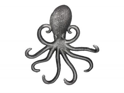 Rustic Silver Cast Iron Wall Mounted Octopus Hooks 7\