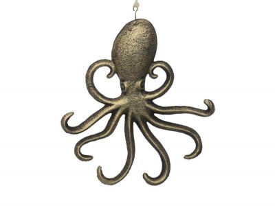 Rustic Gold Cast Iron Wall Mounted Octopus Hooks 7\