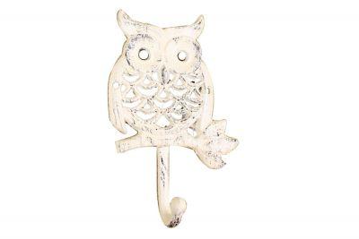 Whitewashed Cast Iron Owl Hook 6\