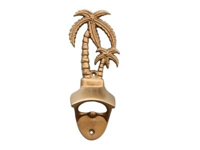 Antique Brass Wall Mounted Palmtree Bottle Opener 6""