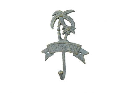 Antique Seaworn Bronze Cast Iron Palm Tree Beach Hook 8""