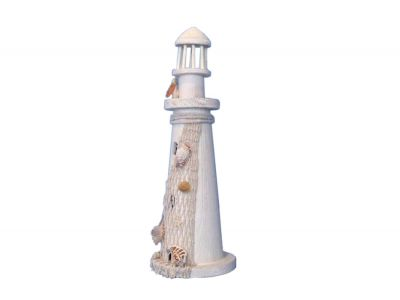 Wooden Pelican and Net Small Lighthouse 15