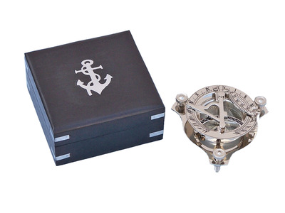 Captains Chrome Triangle Sundial Compass with Black Rosewood Box 3