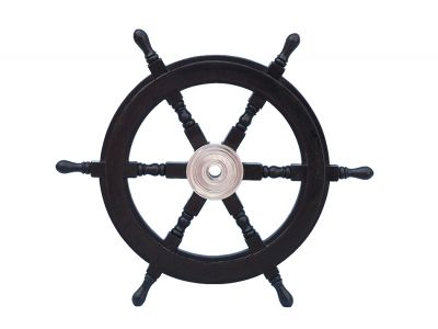 Deluxe Class Wood and Chrome Pirate Ship Steering Wheel 24