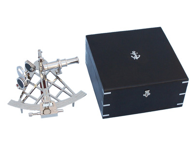 Admirals Chrome Sextant 12 with Black Rosewood Box