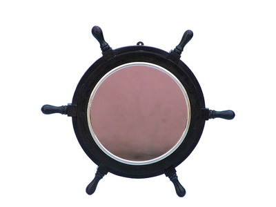 Deluxe Class Wood and Chrome Pirate Ship Wheel Mirror 16\