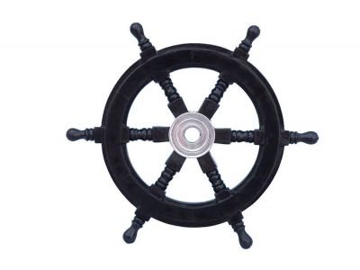 Deluxe Class Wood and Chrome Pirate Ship Steering Wheel 12