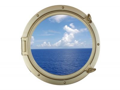 Gold Finish Porthole Window 24
