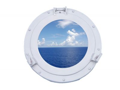 Brass Deluxe Class Porthole Window 15 - White
