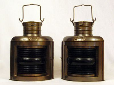 Antique Brass Port and Starboard Oil Lantern 12