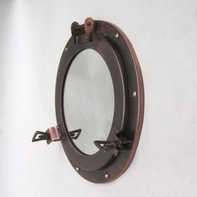Iron Antiqued Porthole Mirror 11