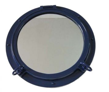 Navy Blue Porthole Mirror 24