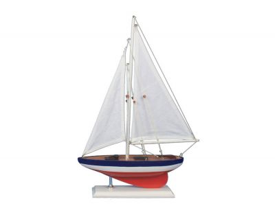 Wooden American Sailer Model Sailboat Decoration 17""