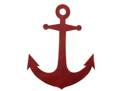 Rustic Red Wooden Anchor 30