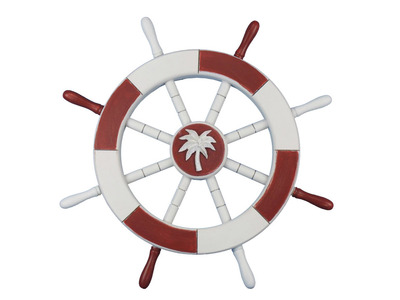 Red and White Ship Wheel with Palm Tree 18