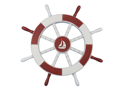 Red and White Ship Wheel with Sailboat 18