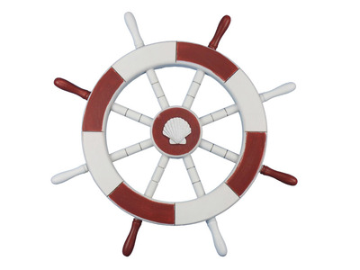 Red and White Ship Wheel with Seashell 18
