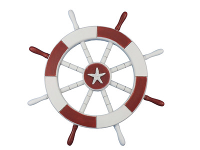 Red and White Ship Wheel with Starfish 18