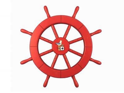 Red Ship Wheel with Seagull and Lifering 18