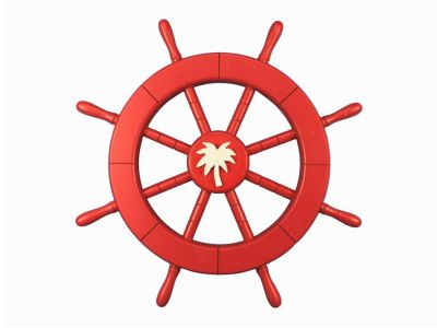 Red Ship Wheel with Palm Tree 18
