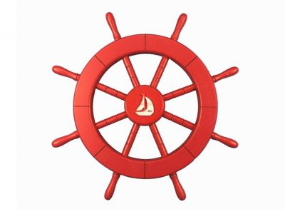 Red Ship Wheel with Sailboat 18