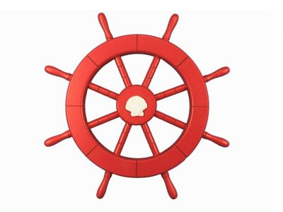 Red Ship Wheel with Seashell 18