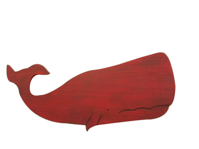 Rustic Red Wooden Whale  40