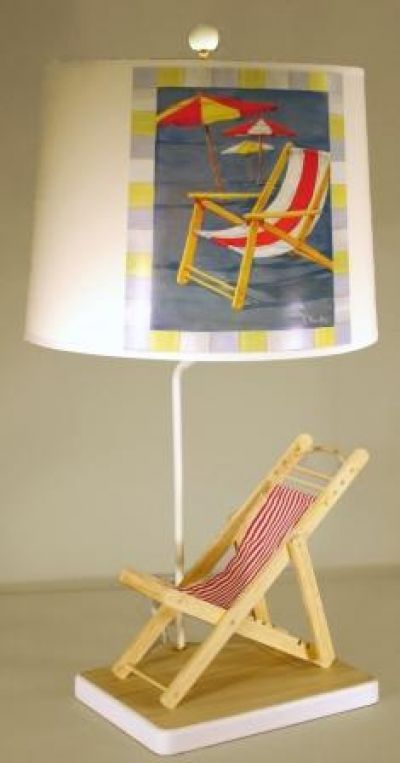 Red and White Beach Chair Electric Lamp 29