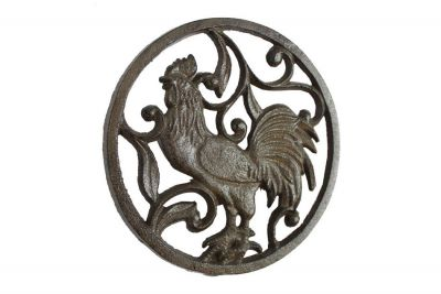 Cast Iron Rooster Trivet 8\