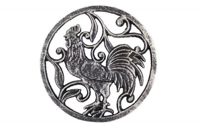 Rustic Silver Cast Iron Rooster Trivet 8\