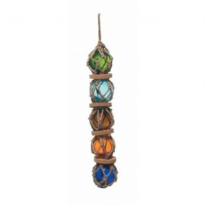 Green - Light Blue - Amber - Orange - Blue - Glass And Rope Float 14