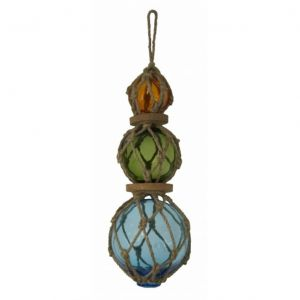 Amber - Green - Light Blue - Glass And Rope Float 14