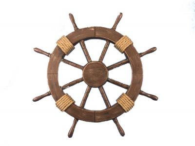 Rustic Wood Finish Ship Wheel 18